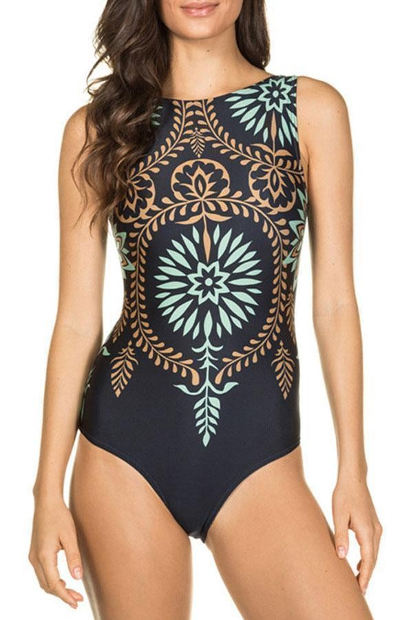 Printed Scoop Back One Piece Surfing Swimwear