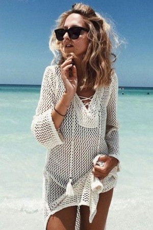 Breezy Lace Up Openwork Crochet Tunic Cover Up