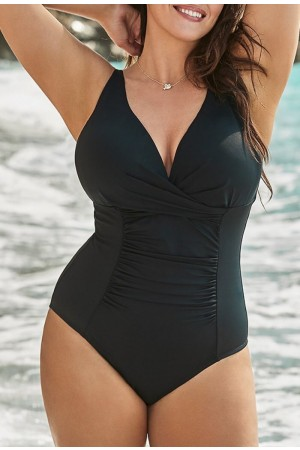 BLACK TWIST RUCHED ONE PIECE SWIMSUIT
