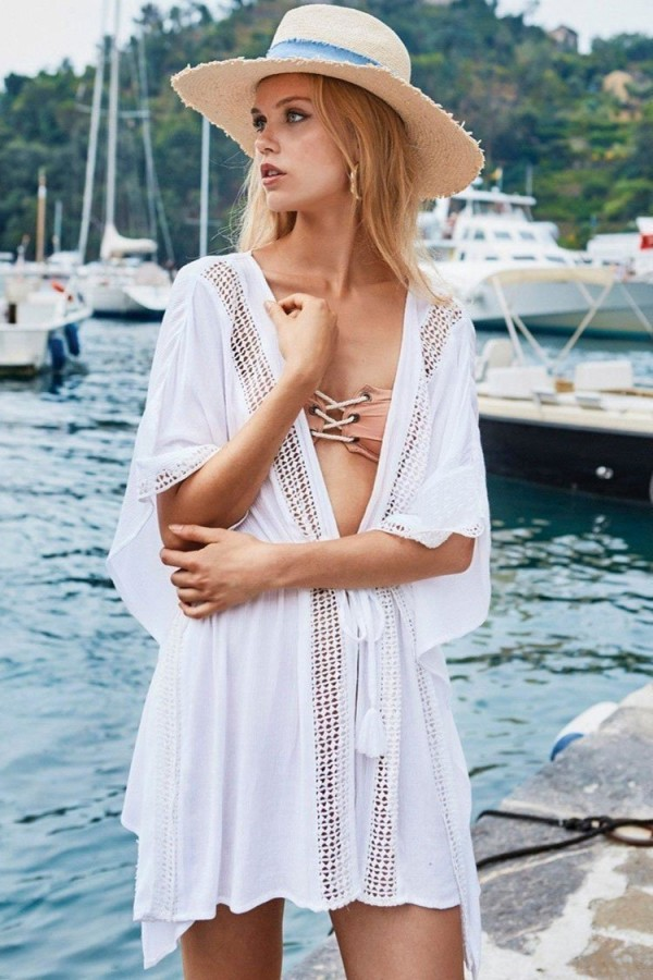 Batwing Sleeve Drawstring Crochet Cover Up
