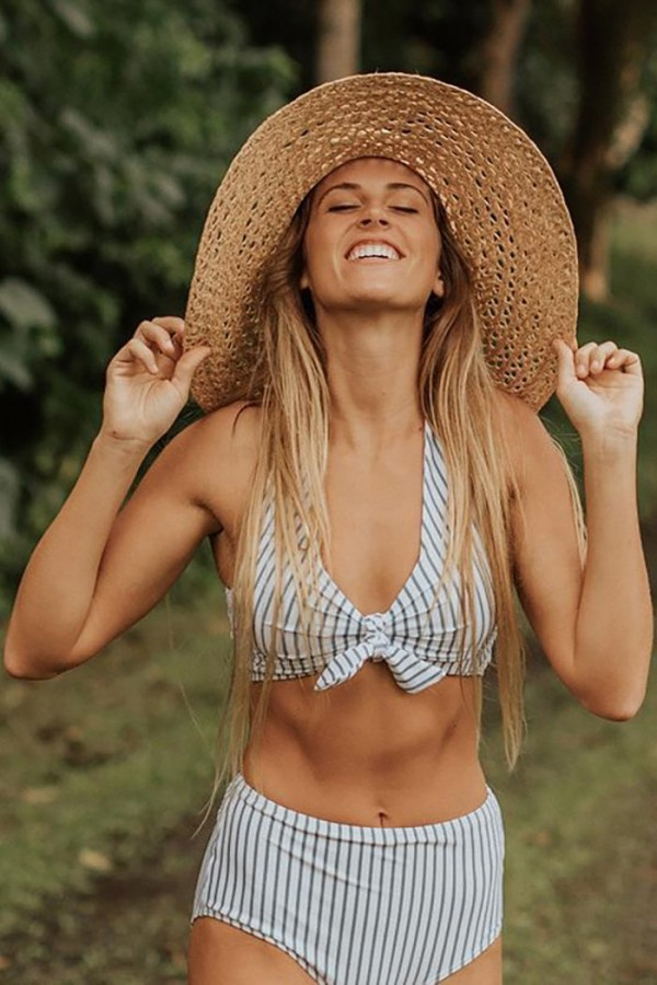 BREEZY STRIPE KNOT BIKINI SET