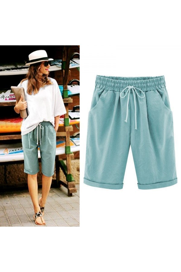 Women's Fashion Elastic Waistband Plus Size Loose Shorts