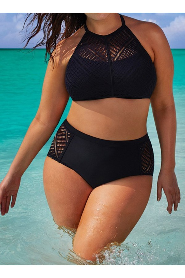 CHARLATAN BLACK CROCHET HIGH NECK BIKINI