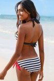 Striped Knotted Halter Nautical Bikini Swimsuit  Two Piece Set