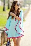 Contrast Color Pompon Edge Batwing Sleeve Cover Up