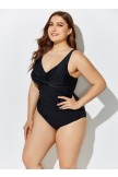 BLACK RUCHED VNECK ONE PIECE SWIMSUIT