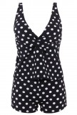 Polka Dot Print Slim Tankini Set