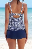 All I Adore Geometric Print Cutout Tankini Set